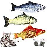 Natuce 3Pcs 30CM Juguete Hierba Gatera, Juguete para Gato y 2 Catnip, Catnip Juguetes, Juguetes Simulación Peluches Pescado, Juguetes para Mascotas, Pescados del Juguete,Interactiva Mascota