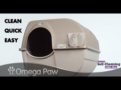 Omega Paw Roll'n Clean Self-Cleaning Litter Box - Beige