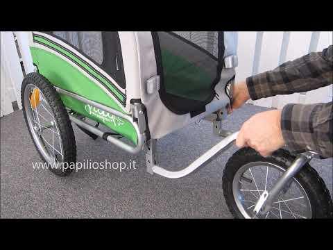 Rimorchio bicicletta per trasporto cani mod. ARGO - montaggio ruota e maniglione