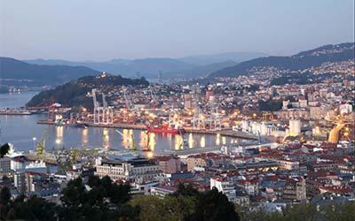 Atardecer en el puerto de Vigo