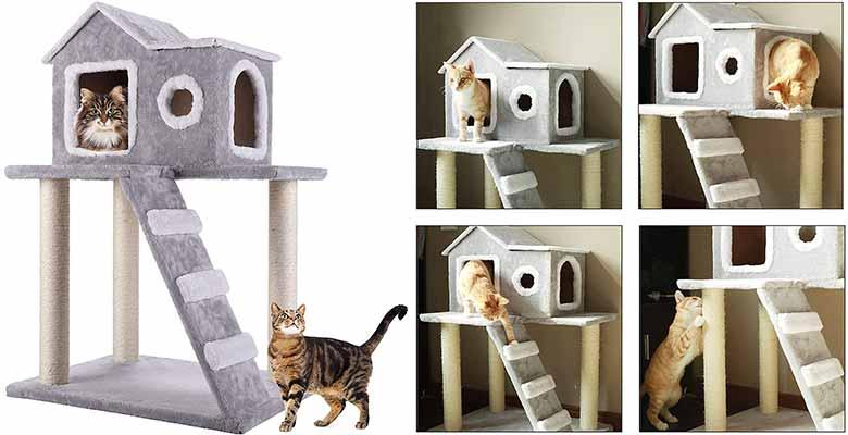 Casa para gatos elevada y con postes rascadores - CO-Z