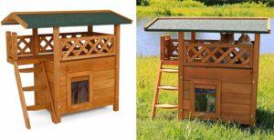 Casa de madera para gatos con 2 plantas - Dibea