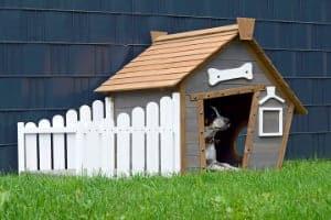 Mueble para perros - Caseta de madera con porche lateral - Dobar
