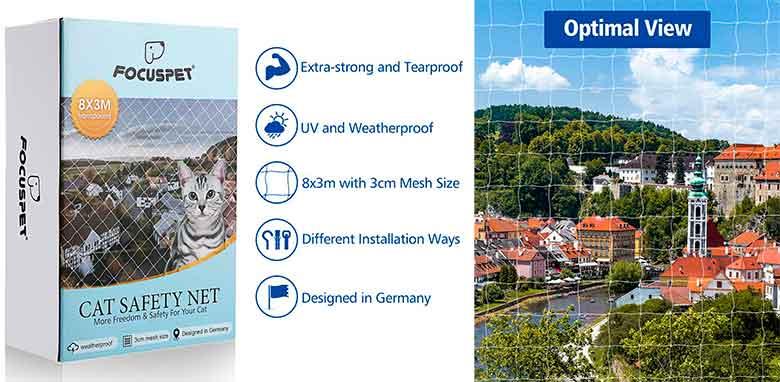 Red de protección para gatos - para instalar en ventanas, terrazas y balcones - Focuspet