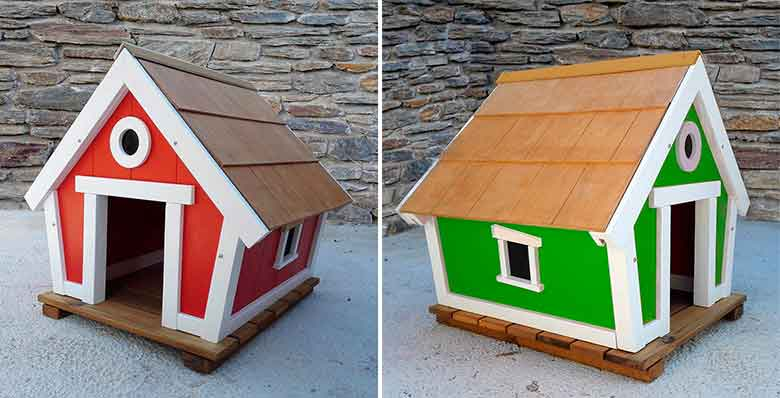 Caseta original de madera para perros - Enis Playgrounds Fun4Pets