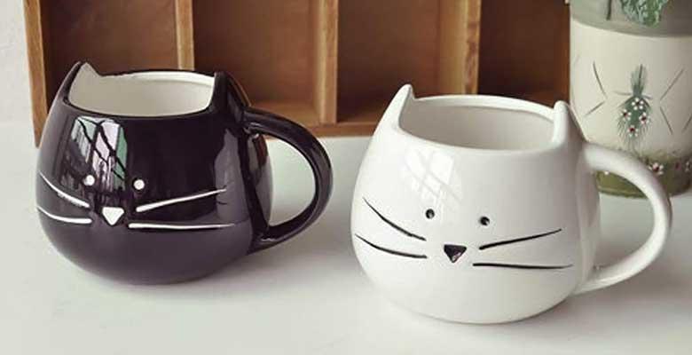 Tazas con forma de cabeza de gato