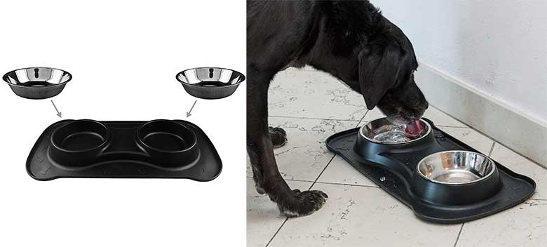 Bebedero doble de acero inoxidable para perros y gatos - Happilax