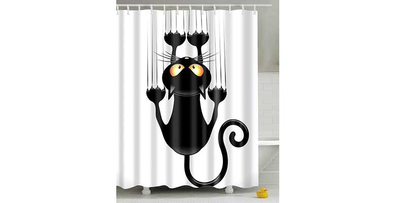 Cortina de ducha con impresión de gato