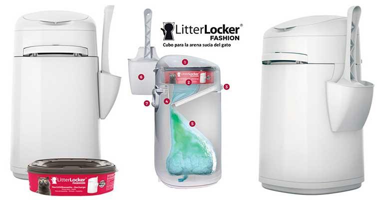 LitterLocker Fashion - Cubo para desechar la arena sucia del gato