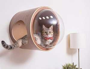 Cueva de pared para gatos con original diseño tipo nave espacial - MYZOO