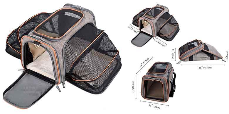 Transportín plegable y extensible para gatos y perros pequeños - Movepeak