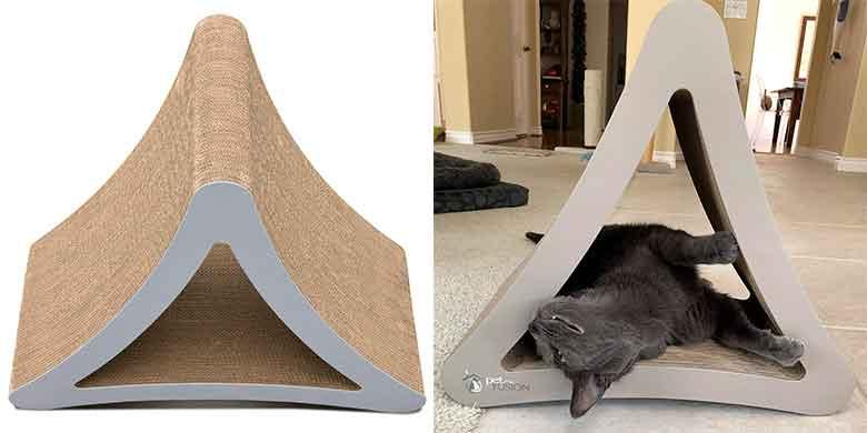 Rascador inclinado para gatos con 3 lados de rascado - PetFusion