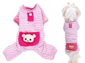 Pijama de algodón y de rayas para perros pequeños - Petall