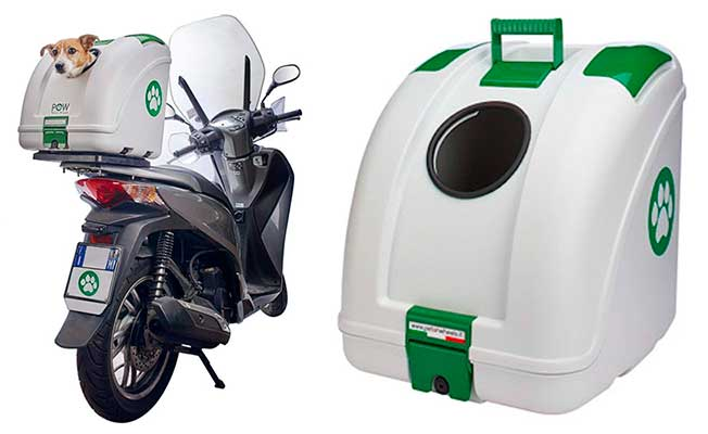 Transportín para llevar perros y gatos en la moto o bici - Pow Pet ON Wheels