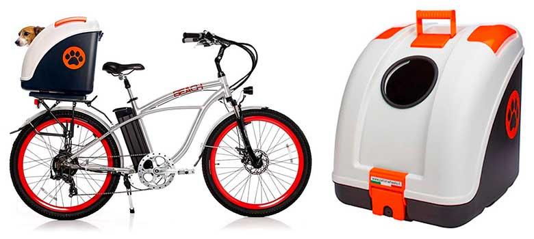Transportín trasero para llevar al perro en bici o moto - Pow Pet ON Wheels