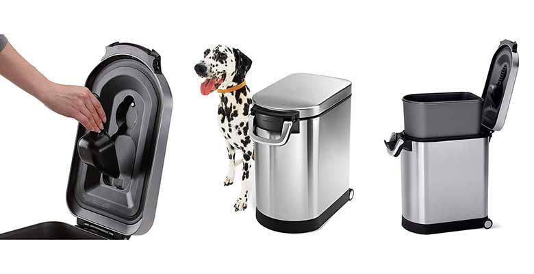 Contenedor de comida para perros y gatos de acero inoxidable - Simplehuman