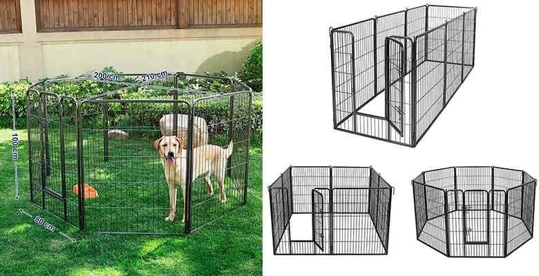 """Parque metálico tipo """"jaula"""" para perros - apto para interior y exterior - HOMCOM"""
