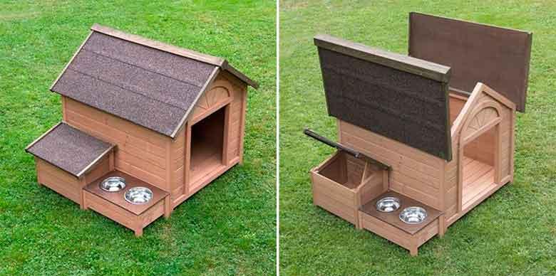 Caseta de madera para perros grandes - con baúl, comedero y bebedero | Sylvan Comfort