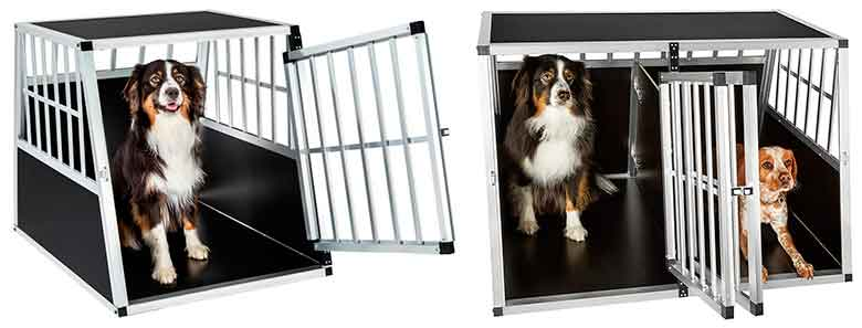 Transportín inclinado de aluminio para llevar al perro en el maletero del coche - TecTake