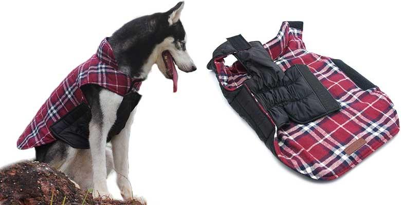 Abrigo para perros reversible y con estilo de cuadros escoceses - ThinkPet