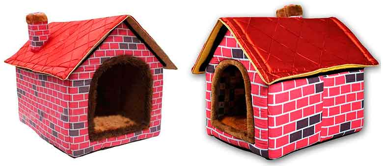 Caseta de tela para perros con interior cálido - Ushang