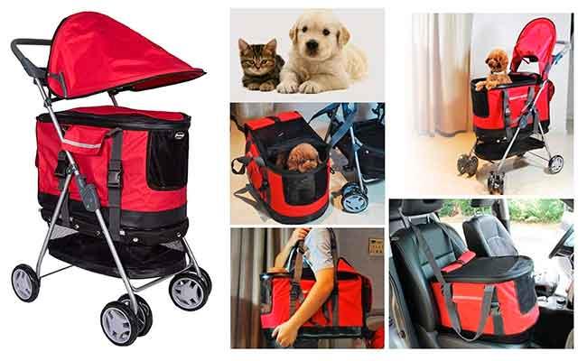 Híbrido entre cochecito y transportín de tela para perros y gatos - V.JUST