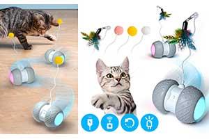 Juego automático de bola giratoria con pluma para gatos - Ventvinal