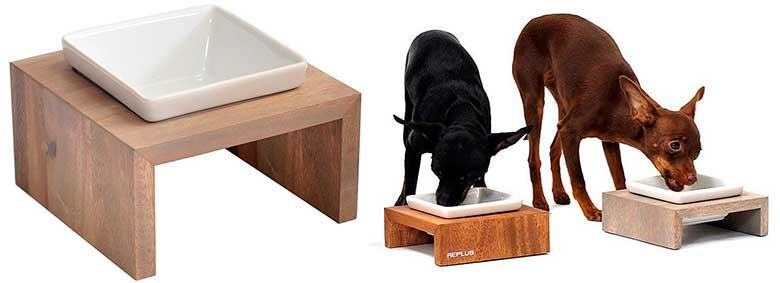 Comedero de madera para perros y gatos con cuencos de porcelana - Wolters Meshidai True