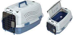 Transportín rígido barato para gatos y perros pequeños - Con 2 puertas - AmazonBasics