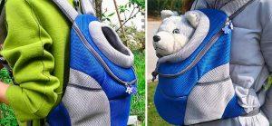 Mochila para llevar a perros y a gatos con apertura para la cabeza - Chrasy