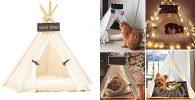 Cama tipo tienda de campaña para gatos - Dewel
