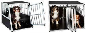 Transportín inclinado de aluminio tipo jaula para llevar al perro en el maletero del coche - TecTake