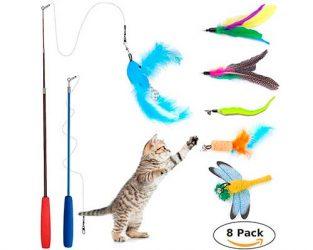 Caña de pescar de juguete para gatos, con peces y plumas - Wineecy